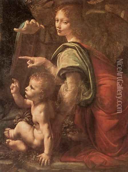 Virgin of the Rocks (detail 2) 1483-86 Oil Painting - Leonardo Da Vinci