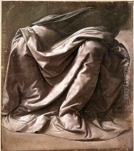 Garment Study For A Seated Figure Oil Painting - Leonardo Da Vinci