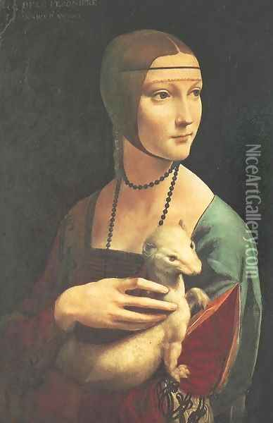 Portrait of Cecilia Gallerani (Lady with an Ermine) 1483-90 Oil Painting - Leonardo Da Vinci