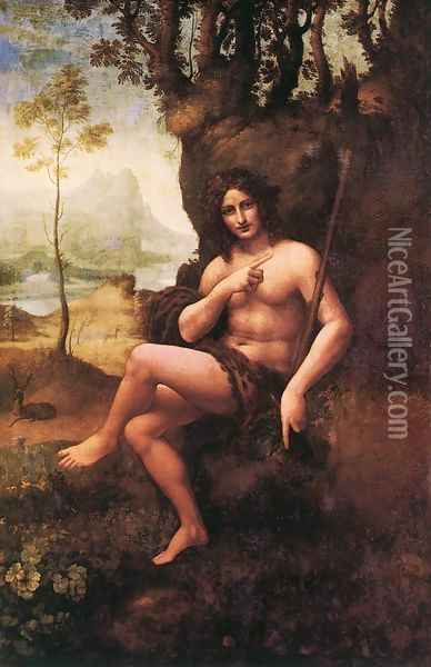 St John in the Wilderness (Bacchus) 1510-15 Oil Painting - Leonardo Da Vinci