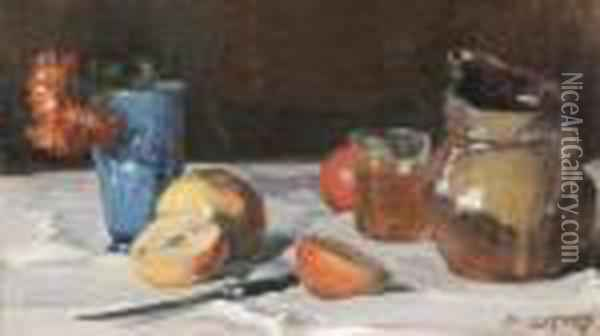 Nature Morte Aux Pommes Oil Painting - Auguste Lepere