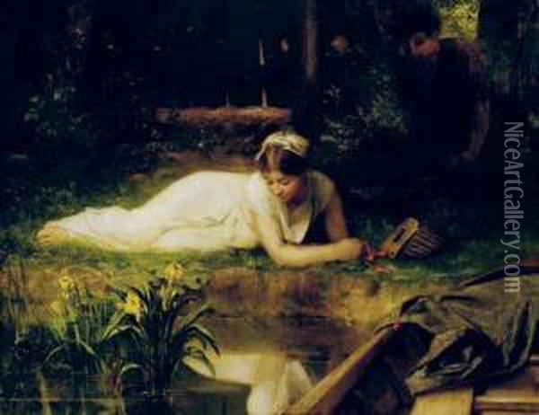 Leisure Time On The Riverbank Oil Painting - Emile Levy