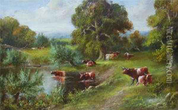 Landscape With Cattle On A River Bank With Further Cattle In The River And Beyond Oil Painting - J. Lewis