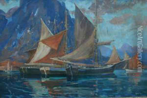 Sailboats In A Harbor Oil Painting - Jonas Lie