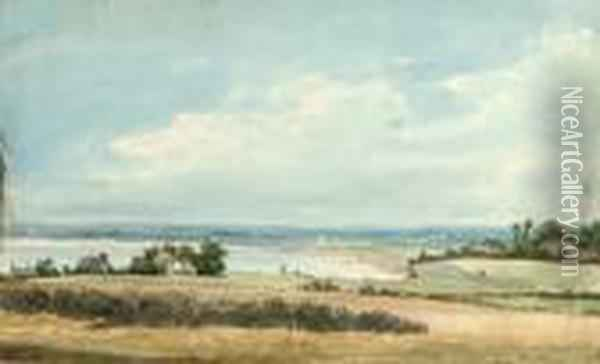 View Across The Fields To The Coast Oil Painting - William Linton