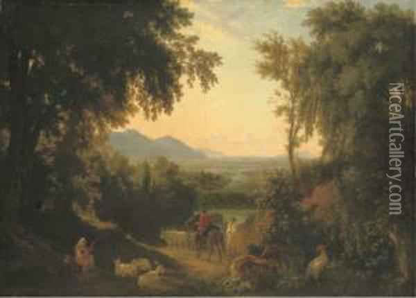 An Italianate Landscape, With Peasants And Livestock In Theforeground Oil Painting - William Linton