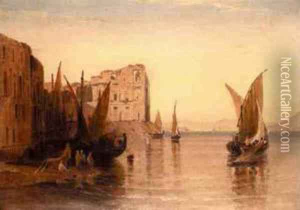Feluccas On The Nile Near Ruined Buildings Oil Painting - William Linton