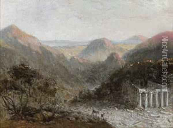 A Ruined Temple In An Italianate Landscape Oil Painting - William Linton