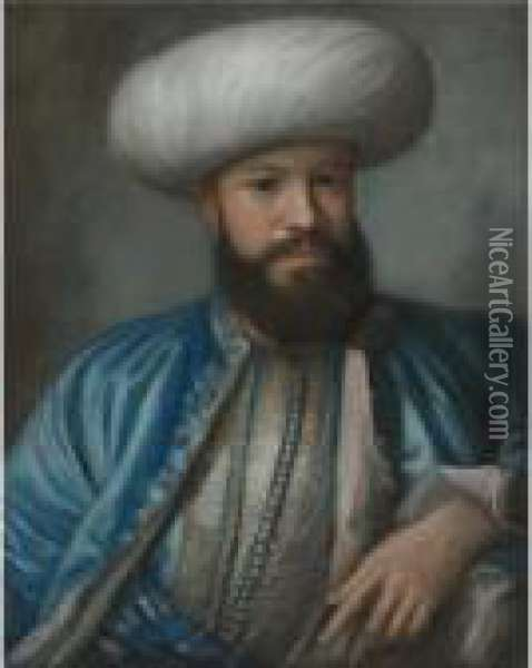 Portrait Of A Man In Turkish Costume Oil Painting - Etienne Liotard