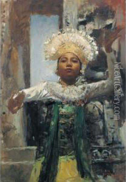 Gambuh Dancer Oil Painting - Romualdo Locatelli
