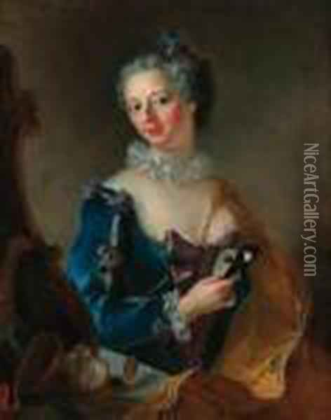 Portrait Of A Lady, Seated  Half-length, Wearing A Blue Dress Withwhite Lace Trim Before A Mirror,  Holding A Mask In Her Righthand Oil Painting - Alessandro Longhi