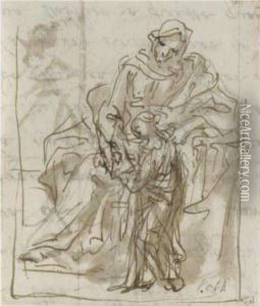 A Group Of Figure And Compositional Studies, Mainly For Religous Or Mythological Scenes Oil Painting - Johann Karl Loth