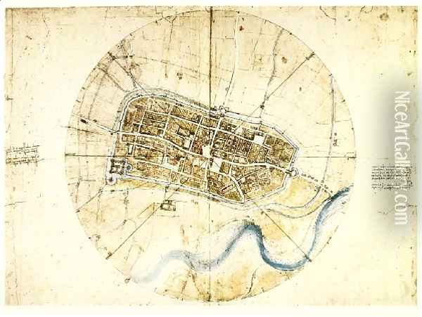 Town Plan Of Imola Oil Painting - Leonardo Da Vinci