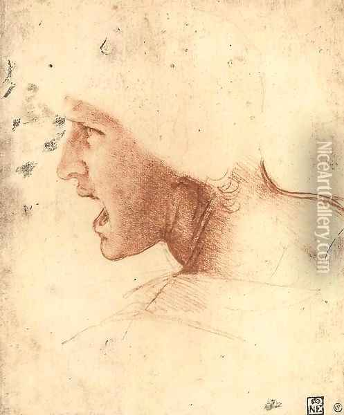 Head of a Warrior (or 'The Red Head') Oil Painting - Leonardo Da Vinci