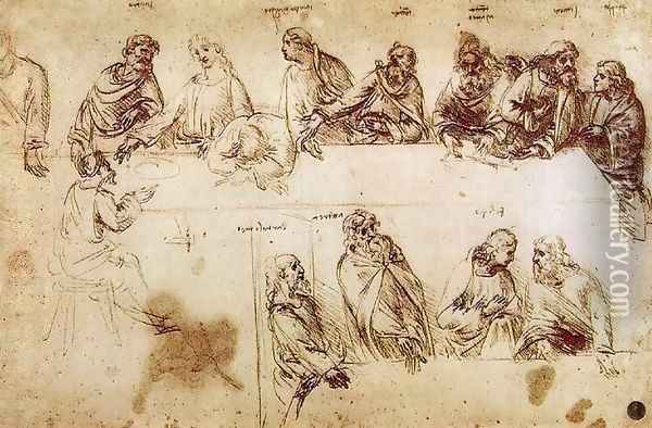 Study for the Composition of the Last Supper Oil Painting - Leonardo Da Vinci