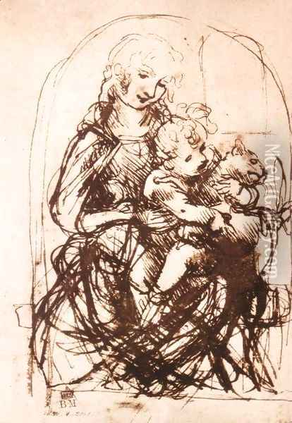 Study Of The Madonna And Child With A Cat Oil Painting - Leonardo Da Vinci