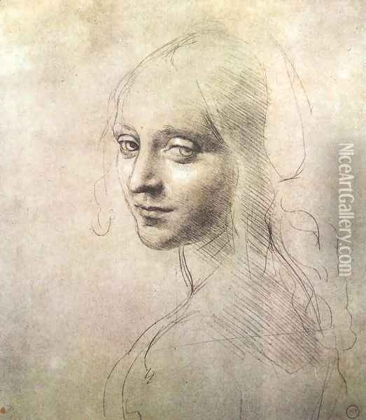Head of a girl c. 1483 Oil Painting - Leonardo Da Vinci