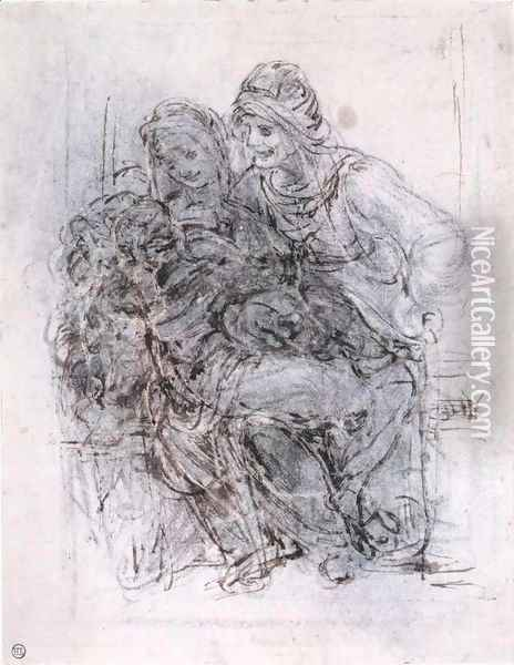 Study of St Anne, Mary and the Christ Child Oil Painting - Leonardo Da Vinci