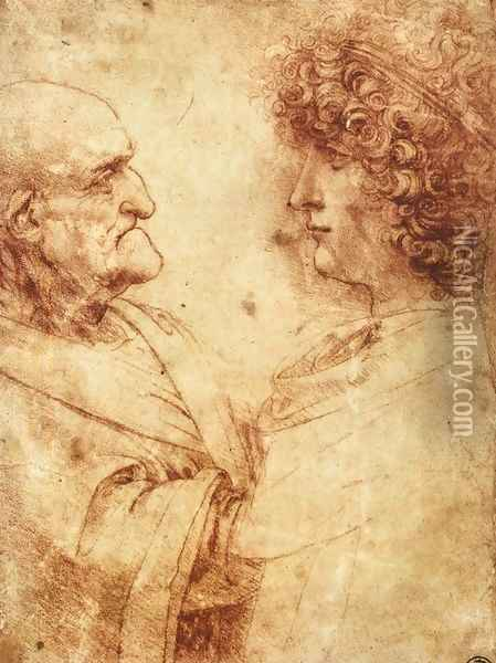 Heads of an old man and a youth Oil Painting - Leonardo Da Vinci