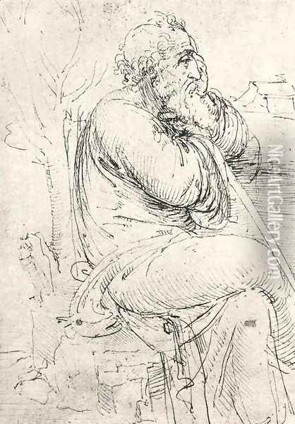 Seated Old Man Oil Painting - Leonardo Da Vinci