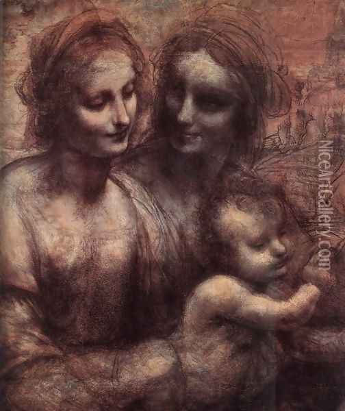 Madonna and Child with St Anne and the Young St John (detail) 1507-08 Oil Painting - Leonardo Da Vinci
