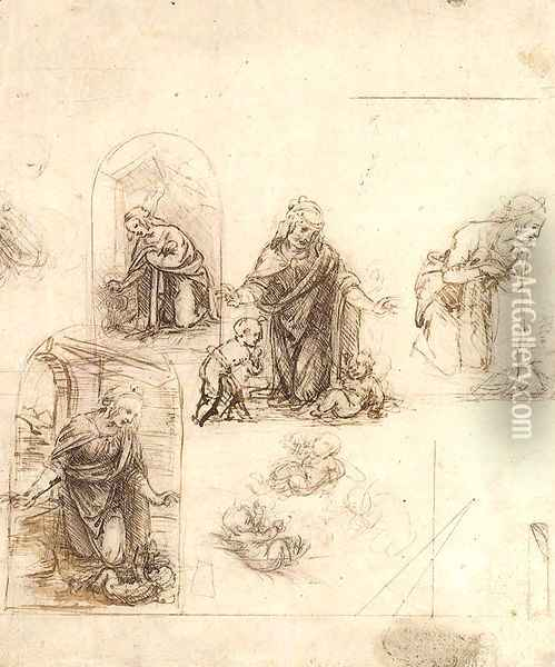 Studies For A Nativity Oil Painting - Leonardo Da Vinci