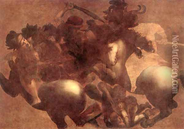 The Battle of Anghiari (detail 2) 1503-05 Oil Painting - Leonardo Da Vinci