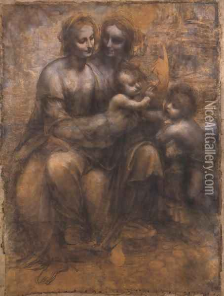 Madonna and Child with St Anne and the Young St John Oil Painting - Leonardo Da Vinci