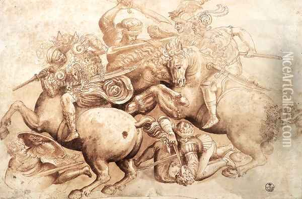 The Battle of Anghiari (copy of a detail) 1503-05 Oil Painting - Leonardo Da Vinci