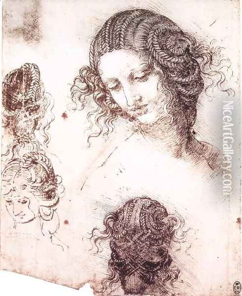 Head of Leda Oil Painting - Leonardo Da Vinci