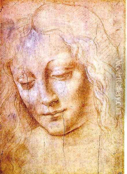 Head of a Young Woman Oil Painting - Leonardo Da Vinci