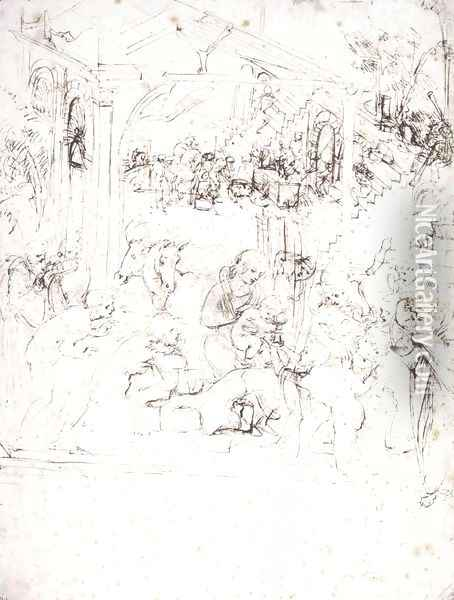 Design for the Adoration of the Magi Oil Painting - Leonardo Da Vinci