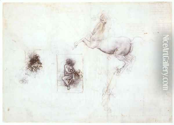 Studies of Leda and a horse Oil Painting - Leonardo Da Vinci