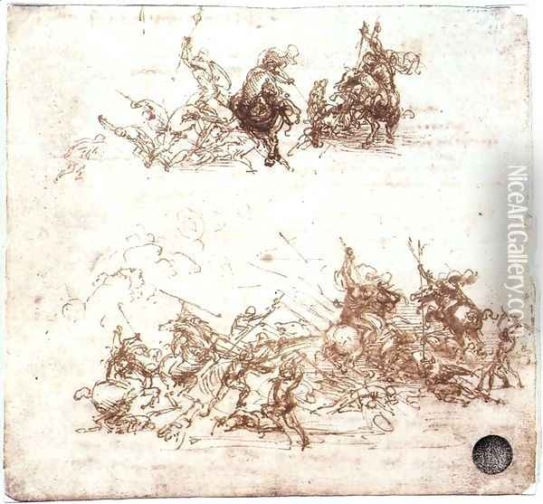 Study of battles on horseback and on foot 1503-04 Oil Painting - Leonardo Da Vinci