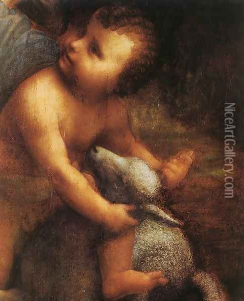 The Virgin and Child with St Anne (detail 2) c. 1510 Oil Painting - Leonardo Da Vinci