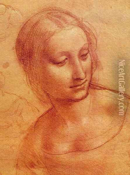 Head of a Woman 1510-11 Oil Painting - Leonardo Da Vinci