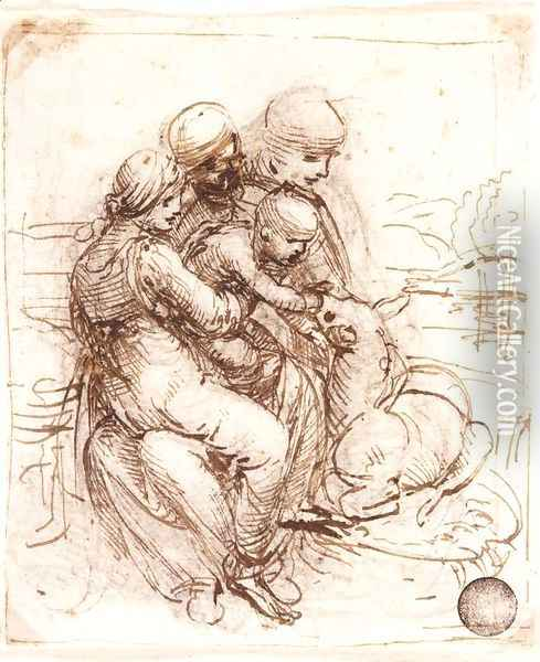 Study of St Anne, Mary, the Christ Child and the young St John Oil Painting - Leonardo Da Vinci