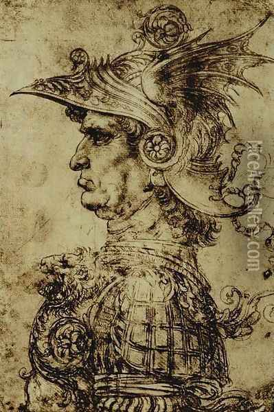 Head of a Condottiere Oil Painting - Leonardo Da Vinci