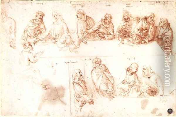 Study for the Last Supper 3 Oil Painting - Leonardo Da Vinci