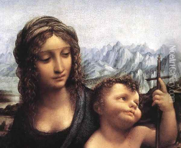 Madonna with the Yarnwider (detail1) Oil Painting - Leonardo Da Vinci