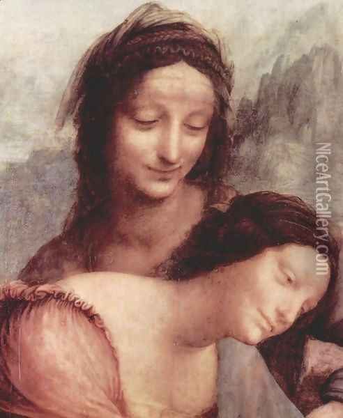 The Virgin and Child with St Anne (detail) Oil Painting - Leonardo Da Vinci