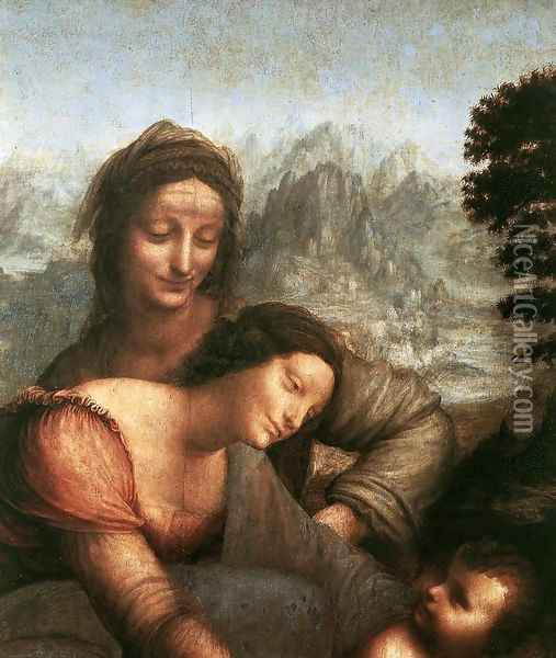 The Virgin and Child with St Anne (detail) 4 Oil Painting - Leonardo Da Vinci