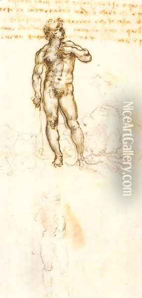 Study of David by Michelangelo (detail) Oil Painting - Leonardo Da Vinci