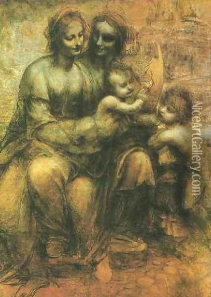 Virgin and Child with John the Baptist and St Anne Oil Painting - Leonardo Da Vinci