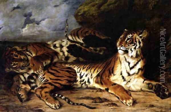 A Young Tiger Playing with its Mother 1830 Oil Painting - Eugene Delacroix