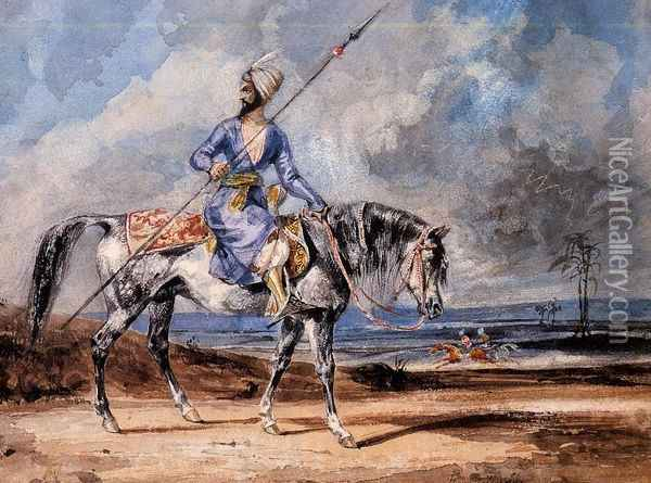 A Turkish Man on a Grey Horse Oil Painting - Eugene Delacroix