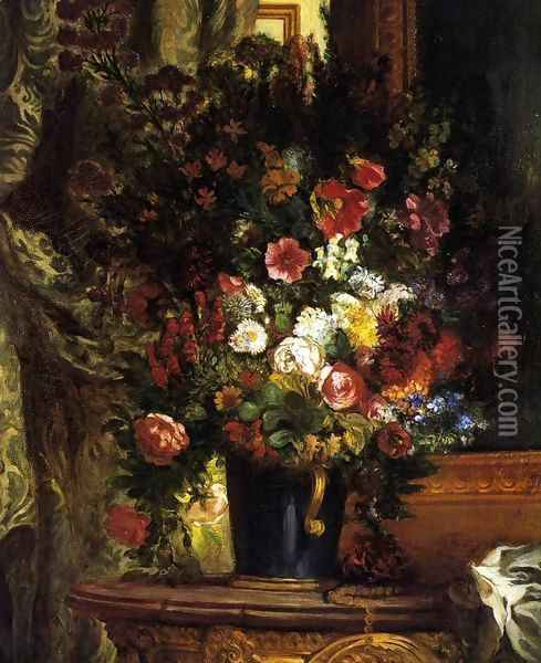 A Vase of Flowers on a Console Oil Painting - Eugene Delacroix