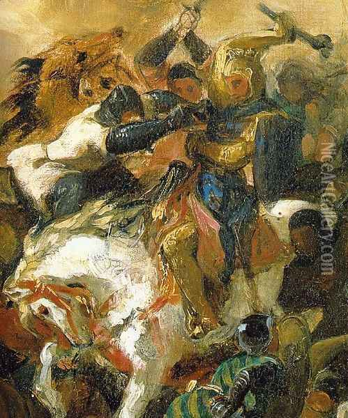 The Battle of Tailleburg (Detail of Louis IX on white horse) Oil Painting - Eugene Delacroix