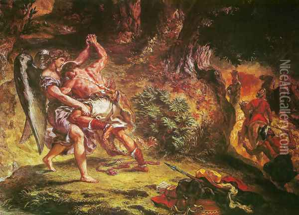 Jakob's fight with the angel (detail 1) Oil Painting - Eugene Delacroix