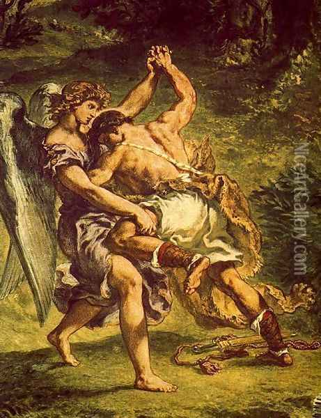 Jakob's fight with the angel (detail3) Oil Painting - Eugene Delacroix